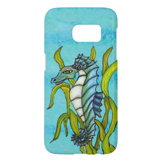 Fantasy Smiling Blue Green Seahorse in Seaweed
