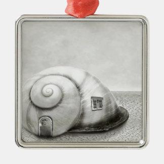 Fantasy snail 2 Silver-Colored square decoration