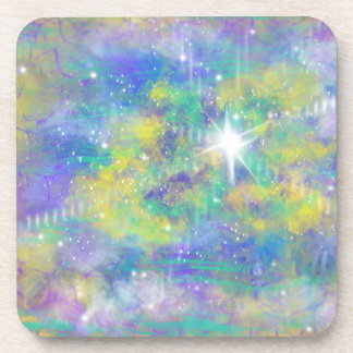 Fantasy Space Star Blue Yellow Abstract Art Design Coaster