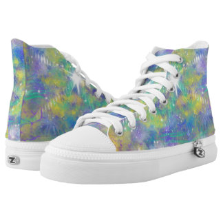 Fantasy Space Star Blue Yellow Abstract Art Design High Tops