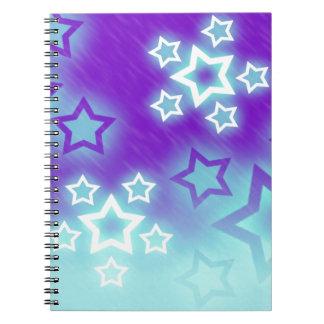 Fantasy Stars Palm Silhouette Sky Background Spiral Notebook