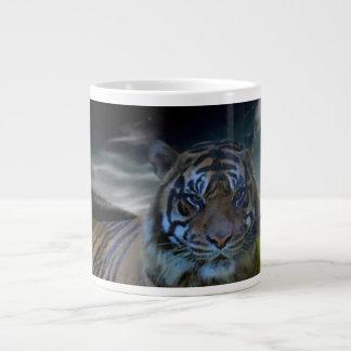 Fantasy Tiger Wild Cat Watercolor Art Jumbo Mug