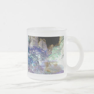 Fantasy Trees Abstract Landscape Frosted Glass Coffee Mug