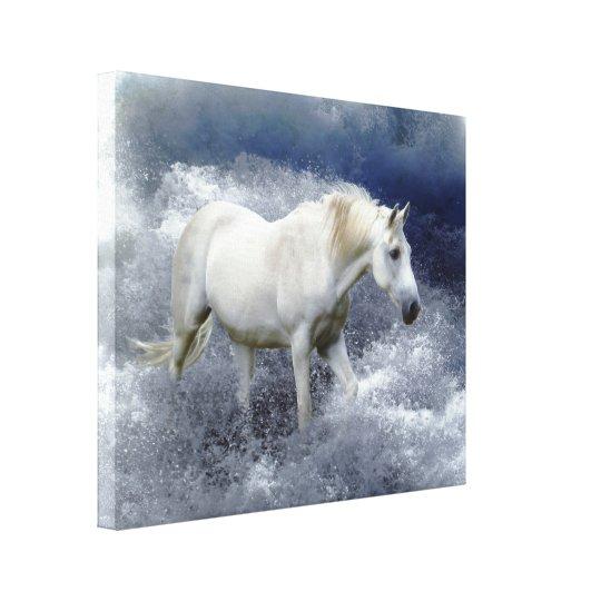 Fantasy White Horse & Ocean Surf Art Print