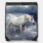 Fantasy White Horse & Ocean Surf Artwork Drawstring Backpacks