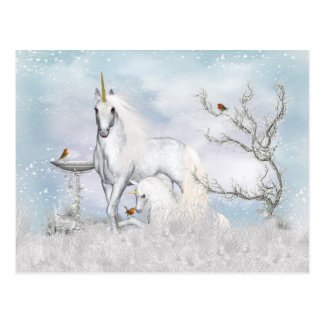 Fantasy Winter Unicorn And Foal Postcard