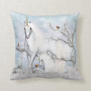 Fantasy Winter Unicorn Throw Pillow - Cussion