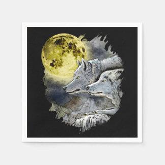 Fantasy Wolf Moon Mountain Disposable Napkin