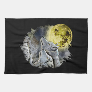 Fantasy Wolf Moon Mountain Tea Towel