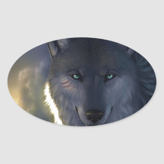 Fantasy Wolf Oval Sticker