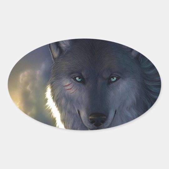 Fantasy Wolf Oval Sticker
