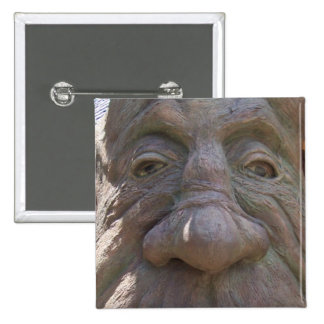 Fantasy Wood Carving Old Face in the Tree 15 Cm Square Badge