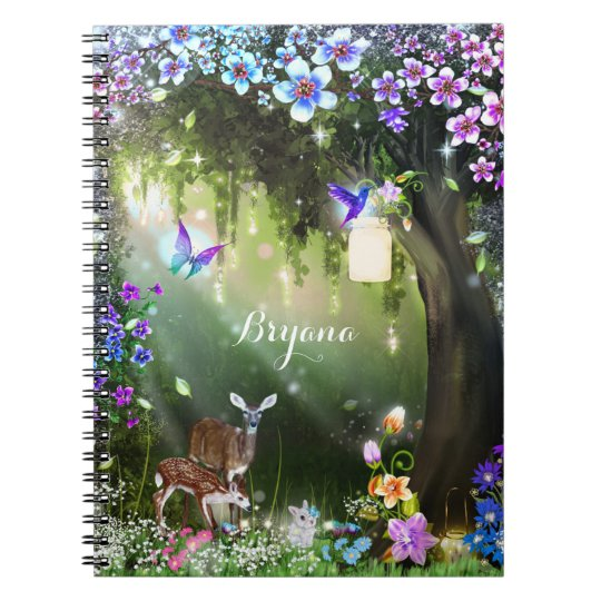 Fantasy woodland forest animals enchanted notebooks