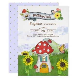 Fantasy Woodland Mushroom House Birthday Party Invitation