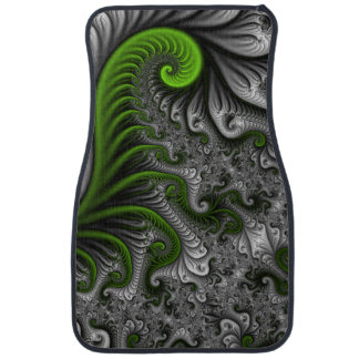 Fantasy World Green And Gray Abstract Fractal Art Car Mat