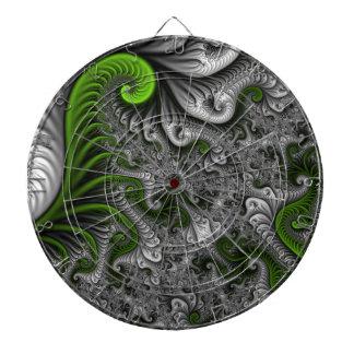 Fantasy World Green And Gray Abstract Fractal Art Dartboard