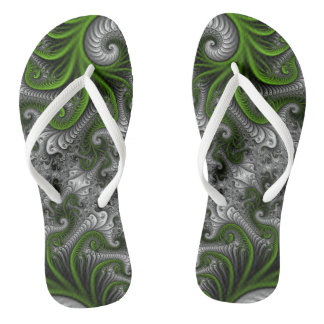 Fantasy World Green And Gray Abstract Fractal Art Flip Flops