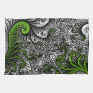 Fantasy World Green And Gray Abstract Fractal Art Hand Towels