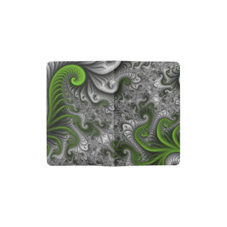 Fantasy World Green And Gray Abstract Fractal Art Pocket Moleskine Notebook