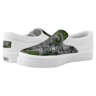 Fantasy World Green And Gray Abstract Fractal Art Slip On Shoes