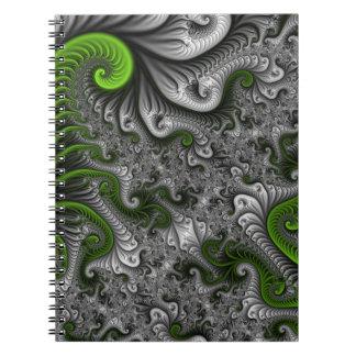 Fantasy World Green And Gray Abstract Fractal Art Spiral Notebook