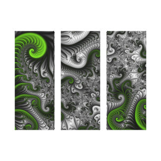 Fantasy World Green Gray Abstract Fractal Triptych Canvas Print