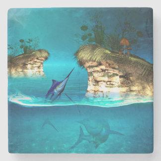 Fantasy world with marlin stone beverage coaster