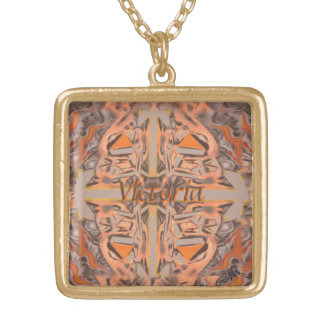 Far Out in Orange and Grey Abstract Gold Plated Necklace