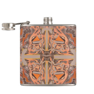 Far Out in Orange and Grey Abstract Hip Flask