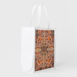 Far Out in Orange and Grey Abstract Reusable Grocery Bag