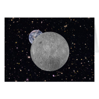 Far Side of the Moon Earth Starry Sky Greeting Card
