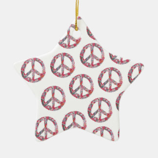 Far Too Pretty Floral Peace Symbols Ceramic Star Decoration