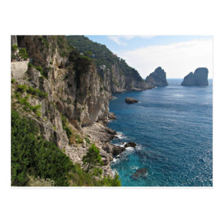 Faraglioni Rock formation on island Capri Postcard