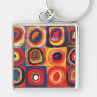 Farbstudie Quadrate - colorful art Silver-Colored Square Key Ring