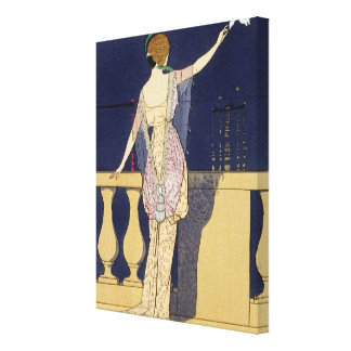 Farewell at Night, design for an evening dress by Canvas Print