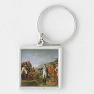 Farewell of Napoleon I  and Alexander I Silver-Colored Square Key Ring