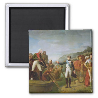 Farewell of Napoleon I  and Alexander I Square Magnet