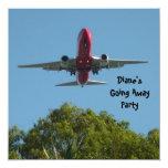 """Farewell Party Invitation Plane Good Bye 5.25"""" Square Invitation Card"""