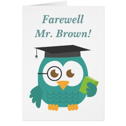 Farewell to Teacher, Cute Teacher Owl Greeting Card