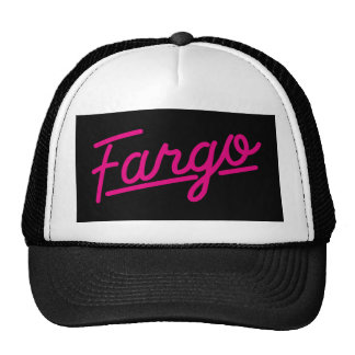 Fargo in magenta trucker hat