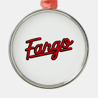 Fargo in red christmas ornaments
