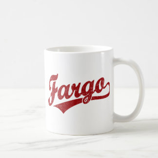 Fargo script logo in red coffee mug