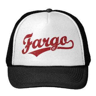 Fargo script logo in red mesh hats