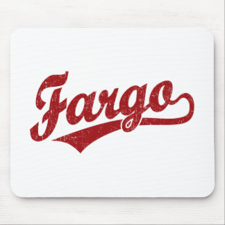 Fargo script logo in red mouse mat