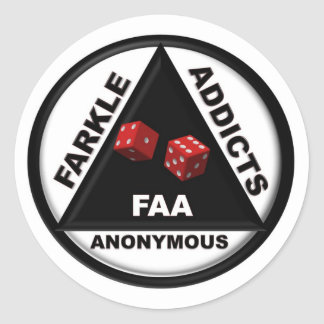 Farkle Addicts Anonymous (2010 Version) Classic Round Sticker