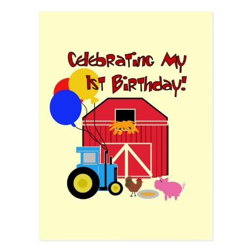 Farm 1st Birthday Tshirts and Gifts Postcards