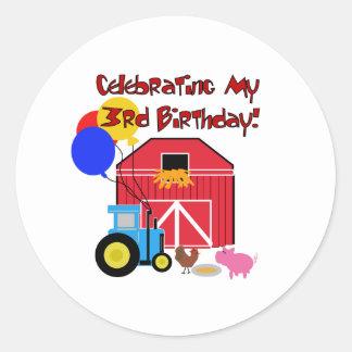 Farm 3rd Birthday Classic Round Sticker