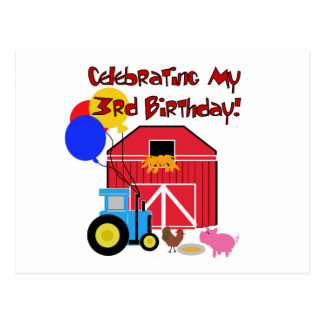 Farm 3rd Birthday T-shirts and Gifts Postcard