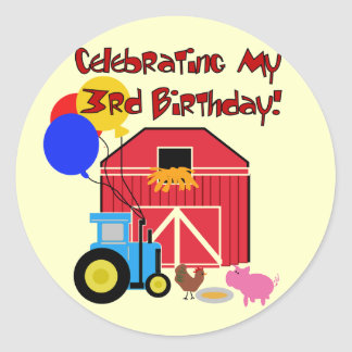 Farm 3rd Birthday T-shirts and Gifts Round Sticker