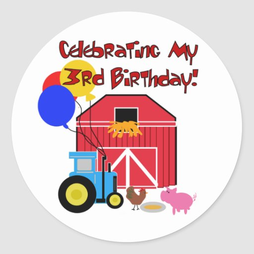Farm 3rd Birthday T-shirts and Gifts Stickers